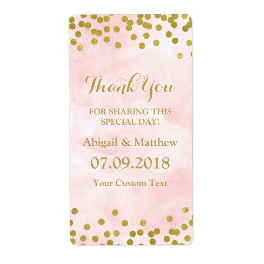 Etiquetas rosadas del boda del confeti del oro de etiqueta de envío