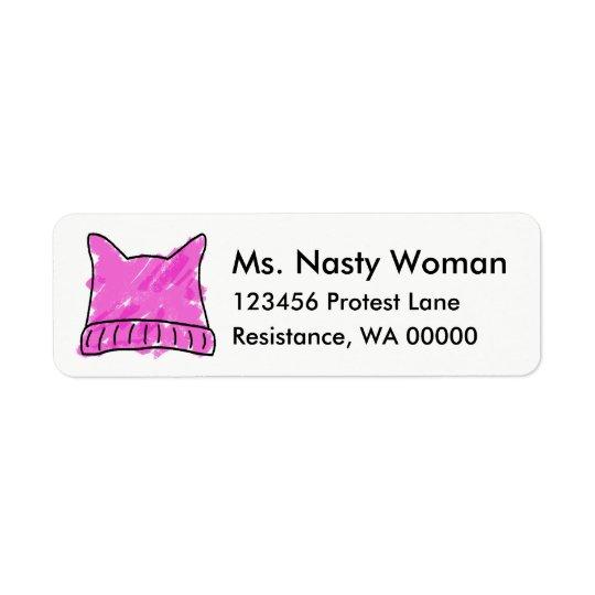 Etiquetas rosadas del gorra del gatito etiqueta de remitente