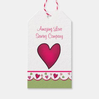 Etiquetas rosadas del producto del negocio del etiquetas para regalos