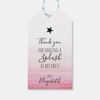 Etiquetas rosadas del regalo de la fiesta de