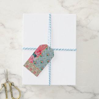 Etiquetas rosadas del regalo del papel pintado del etiquetas para regalos