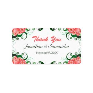Etiquetas rosadas florales del favor del favor del etiqueta de dirección