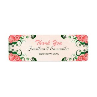 Etiquetas rosadas florales del favor del favor del etiqueta de remitente