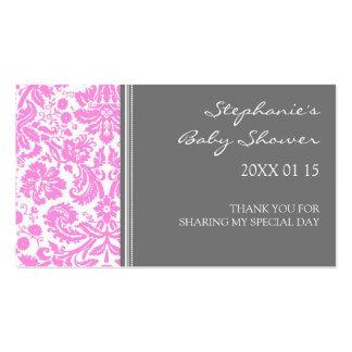 Etiquetas rosadas grises del favor de la fiesta de tarjeta personal