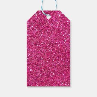 Etiquetas rosadas purpurinoso del regalo