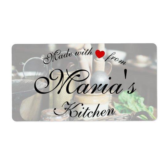 Etiquetas rústicas del cocinero de la cocina etiqueta de envío