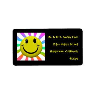 Etiquetas sonrientes felices de la cara etiquetas de dirección