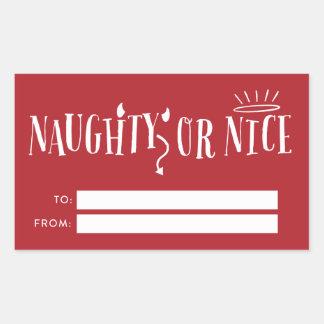 Etiquetas traviesas o Niza del regalo del navidad Pegatina Rectangular