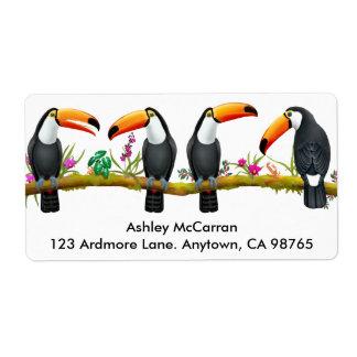 Etiquetas tropicales de los pájaros de Toucan