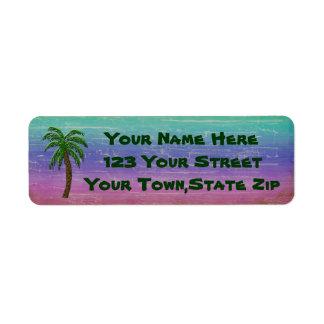Etiquetas tropicales del remite de la palmera etiqueta de remite