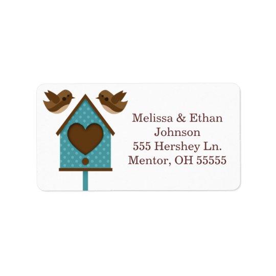 Etiquetas verde azuladas de la casa del pájaro de etiquetas de dirección