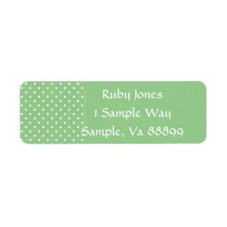 Etiquetas verdes de la plantilla de los lunares de etiqueta de remite