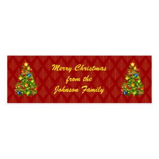 Etiquetas verdes del regalo del árbol de navidad tarjetas de visita mini