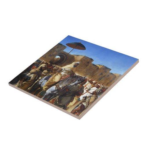 Eugene Delacroix- el sultán de irse de Marruecos Teja Ceramica