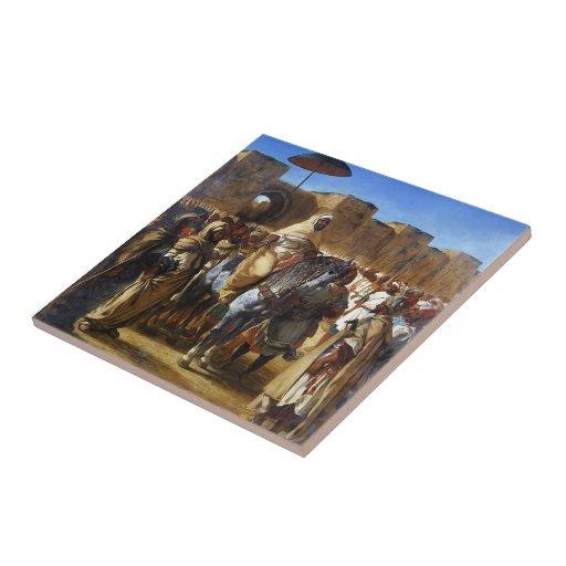 Eugene Delacroix- el sultán de irse de Marruecos Azulejos