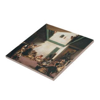 Eugene Delacroix- un boda judío en Marruecos Azulejo Cuadrado Pequeño