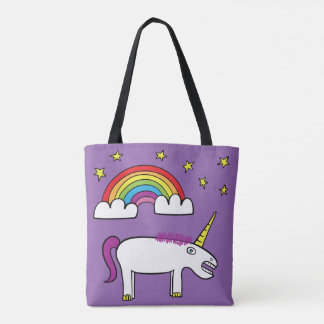 Eunice el unicornio - todo encima - imprima la bolso de tela