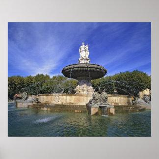 Europa, Francia, Aix-en-Provence. Fontaine de Póster