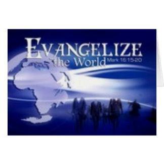 evangelice el mundo tarjeta de felicitación