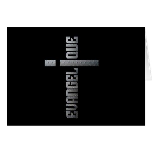 Evangélico metal sobre fondo cuadrado negro felicitacion