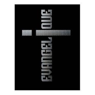 Evangélico metal sobre fondo cuadrado negro tarjeta postal