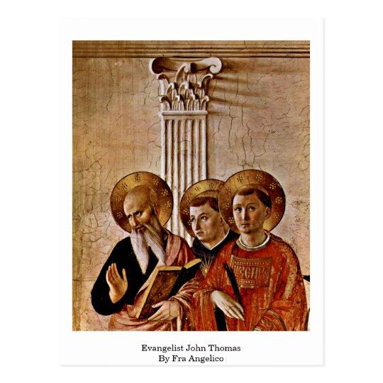 Evangelista Juan Thomas por Fra Angelico Postal