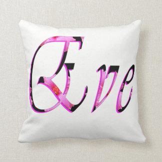 Eve, nombre, logotipo, blanco, amortiguador del cojín decorativo