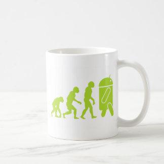 Evolución androide taza de café
