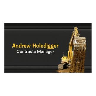 Excavador amarillo en negro tarjetas de visita