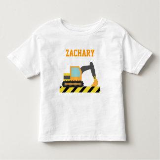 Excavador anaranjado, vehículo de la construcción, camiseta
