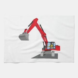excavadora roja de cadena paño de cocina