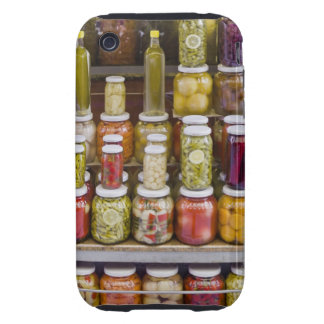 Exhibición de frutas y de verduras conservadas en funda though para iPhone 3