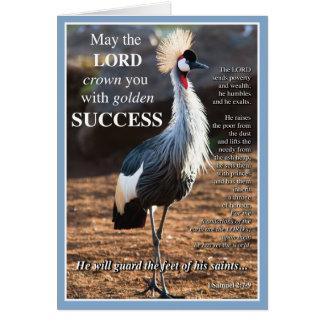 Éxito coronado de la grúa tarjeta de felicitación