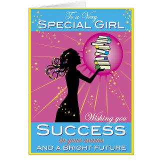Éxito del chica de la estrella tarjeta de felicitación