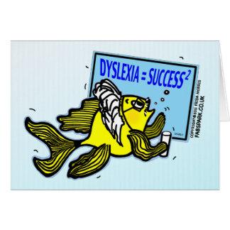 Éxito del disléxico del ~ de los pescados del prof felicitación