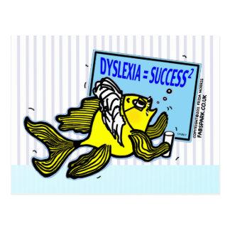 Éxito del disléxico del de los pescados del prof tarjetas postales