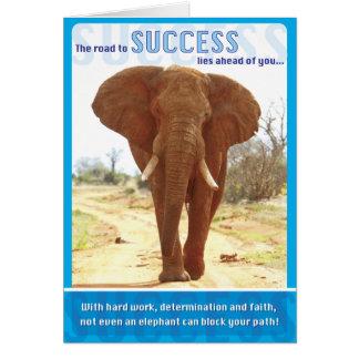 Éxito del elefante tarjeta de felicitación