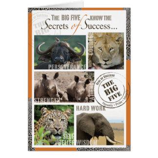 Éxito grande cinco tarjeta de felicitación