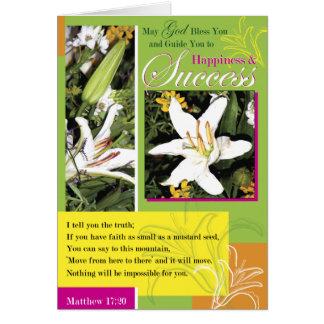Éxito luminoso del lirio tarjeta de felicitación