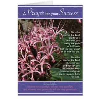 Éxito rosado del lirio tarjeta de felicitación