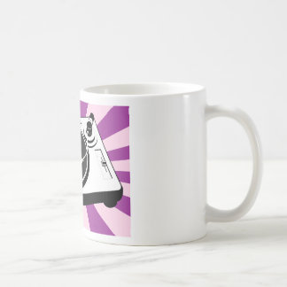 Expediente retro de la placa giratoria de encargo taza de café