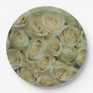 Experiencia del rosa blanco por el Rosegarden Plato De Papel