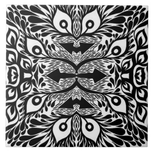 Explosi n abstracta blanco y negro azulejo zazzle for Azulejo a cuadros blanco y negro barato