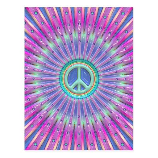 Explosión colorida del signo de la paz postal