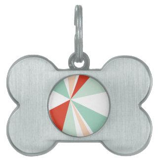 Explosión de color retra del arte geométrico placa para mascotas