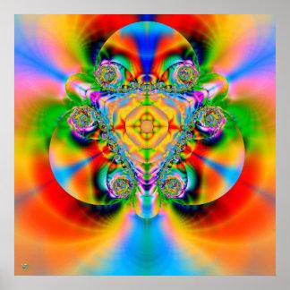 Explosión del color. arco iris del fractal de la i poster