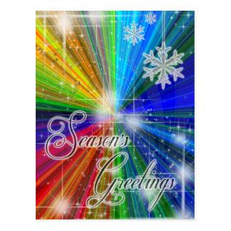Explosión del color con los copos de nieve y las postal