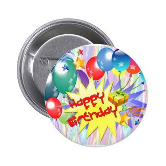Explosión del feliz cumpleaños chapa redonda de 5 cm