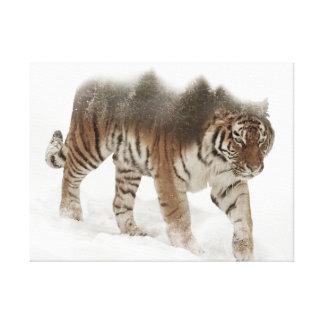 Exposición-fauna tigre-Tigre-doble siberiana Lienzo