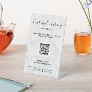 Expositor En L Elegante precio QR digital de mármol blanco de mo